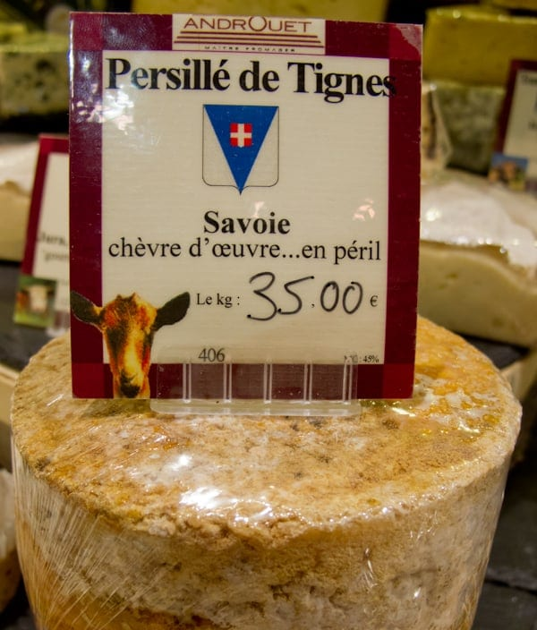 Persillé de Tignes inside Androuet (packaging says: cheese in peril!)