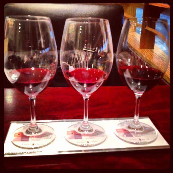 Vino Volo flight of West Coast Pinot Noirs