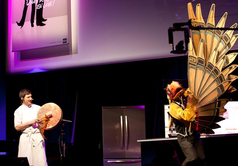 Blaine Wetzel and Gene Tagaban performing a native American dance at Paris des Chefs