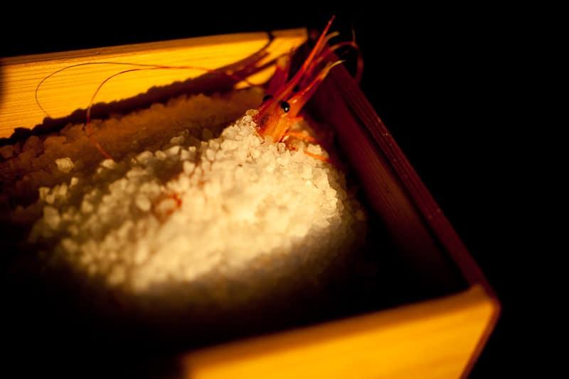 Salt baked spot prawn