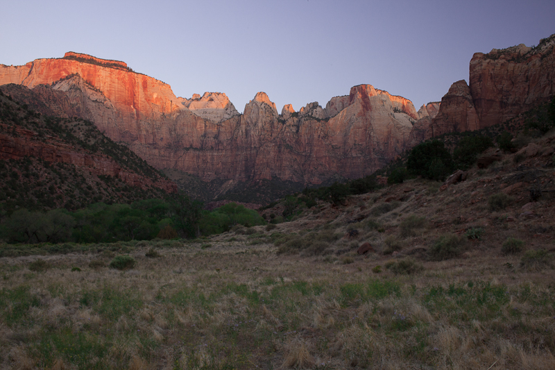 Sunrise on the Zion Canyon walls