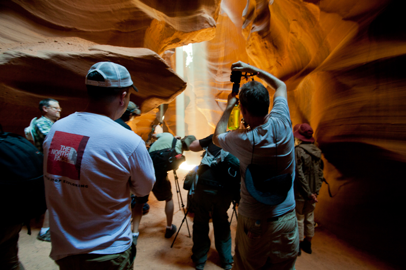 Eight photographers vying for spots inside Antelope Canyon