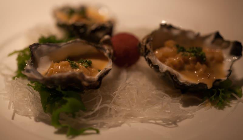 Nobu Kumomoto Oysters with Creamy Onion Salsa